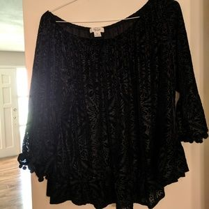 Style & Co Velvet style Top  Size XL
